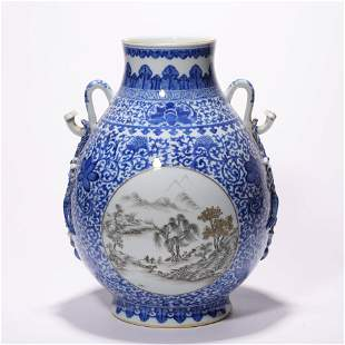 A Chinese Porcelain Mountain and River Vase Marked Qian