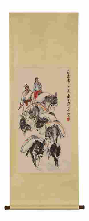 A Chinese Scroll Painting Attributed to Huang Zhou