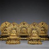 A Set of Chinese Gilt-Bronze Buddha Statues
