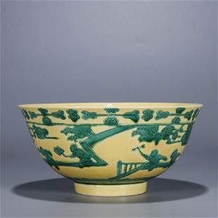 A Chinese Porcelain Yellow-Glazed Bowl Marked Yong