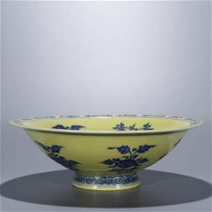 A Chinese Porcelain Yellow-Glazed Dish Marked Qian Long