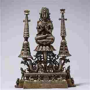 A Chinese Silver Inlaid Bronze Buddha Statue