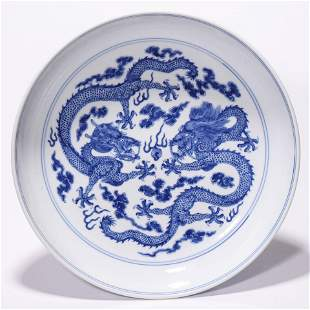 A Chinese Porcelain Blue and White Dragon Pattern Dish