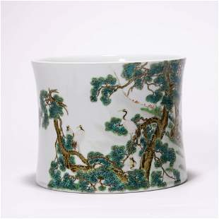A Chinese Porcelain Famille-Rose Crane and Pines Brush