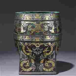 A Chinese Gold and Silver Inlaid Bronze Dragon Cup
