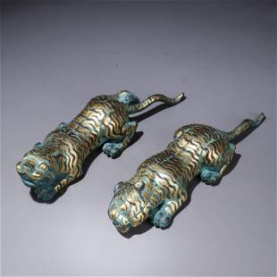 A Pair of Chinese Gold and Silver Inlaid Bronze Tigers