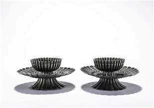 A Pair of Chinese Silver Lobed Bowls and Stands
