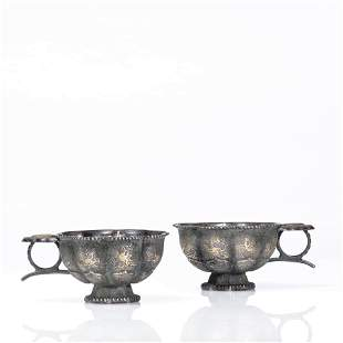A Pair of Chinese Silver Bird and Beast Cups