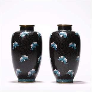 A Pair of Chinese Cloisonne Enamel Vases