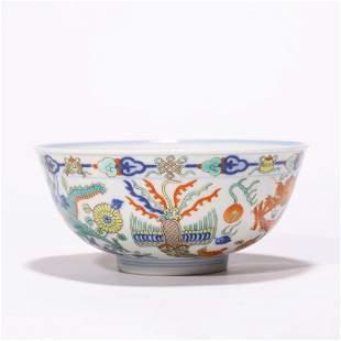 A Chinese Porcelain Wucai Phoenix and Dragon Bowl