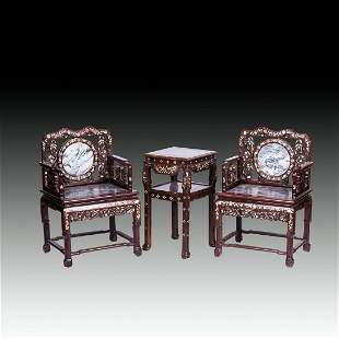 CHINESE MARBLE AND MOTHER-OF-PEARL INLAID HONGMU CHAIRS