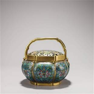 A Chinese Cloisonne Enamel Lobed Censer Marked Lu Xiang
