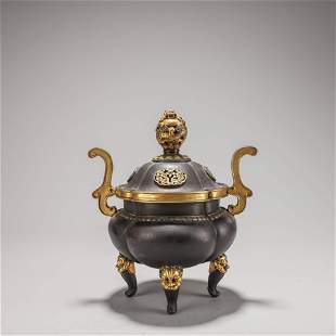 A Chinese Gilt-Bronze Dragon Censer Marked Ming