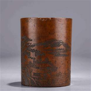 A Chinese Boxwood Mountain and River Brush Pot Marked