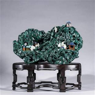 A Chinese Malachite Mountain and River Carving Marked