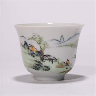 A Chinese Porcelain Mountain and River Cup