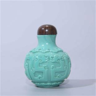 TURQUOISE GLASS DRAGON SNUFF BOTTLE