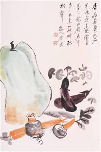 TANG YUN, MELON AND FRUITS PAPER PAINTING SCROLL