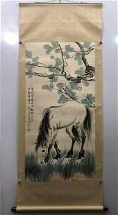 XU BEIHONG, HORSE PAPER PAINTING SCROLL