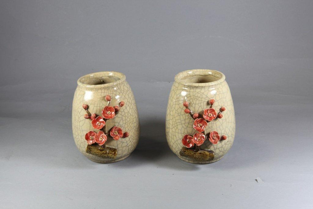1: Authentic Glazed Ceramic Vases Pair