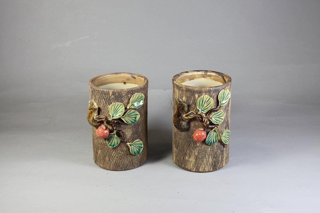3: Authentic Glazed Ceramic Vases Pair