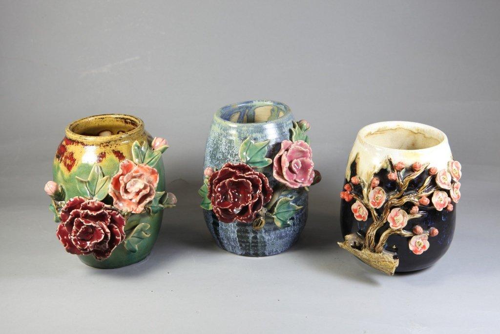 4: A Group of Three Authentic Glazed Ceramic Vases