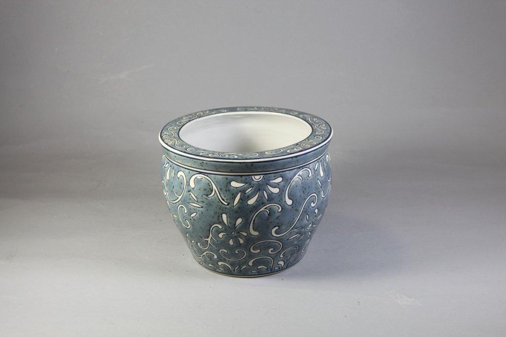 8: Porcelain Embossed Vintage Blue Flower Pot