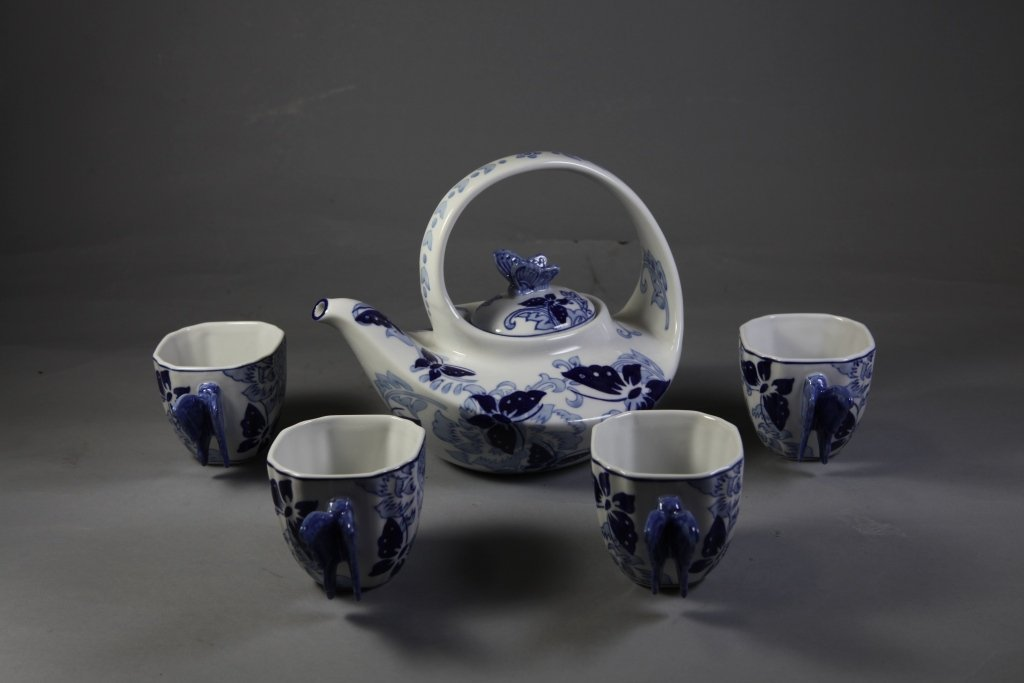 9: Blue & White Porcelain Tea Set with Butterfly design