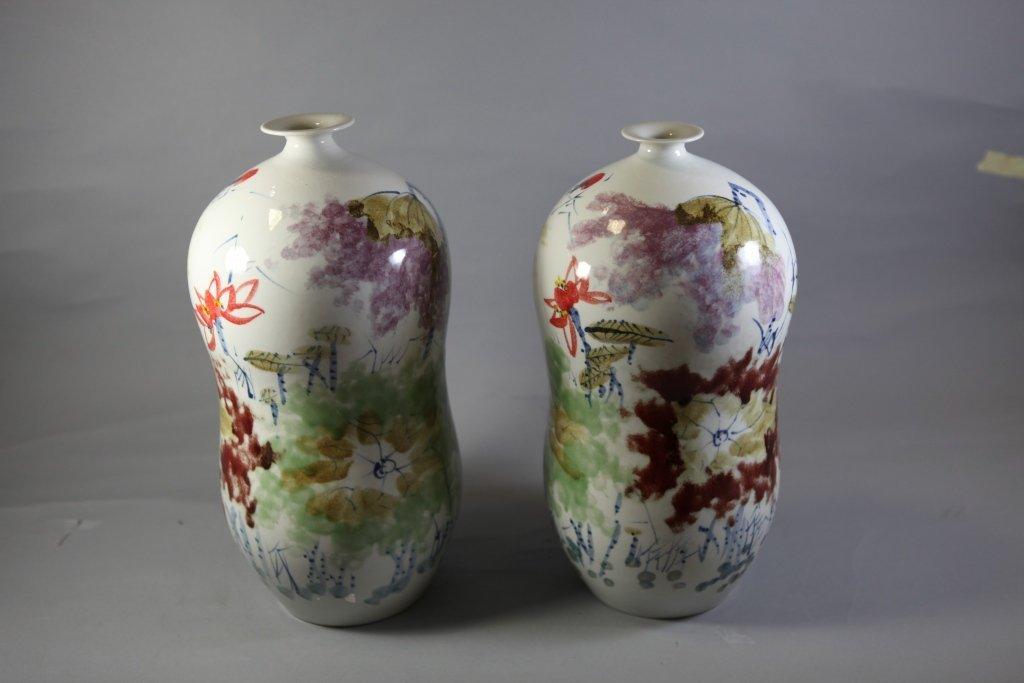 11: Glazed Porcelain Tubular Shaped Vases Hand-Painted
