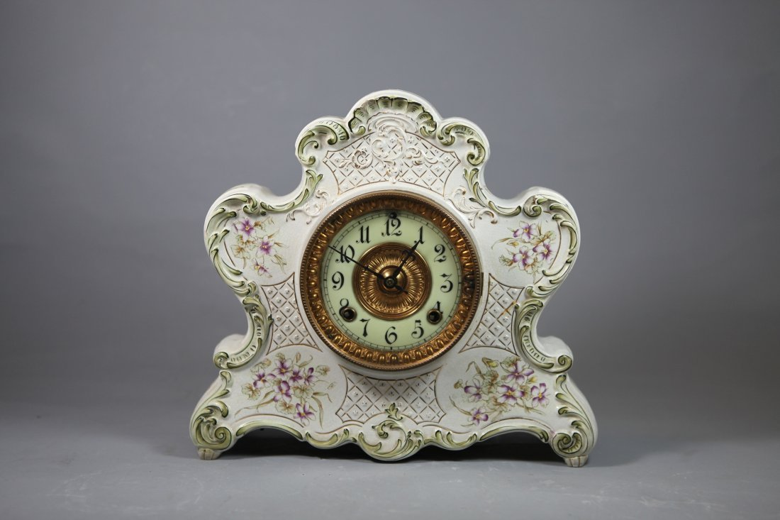 603: Hand-painted Porcelain Clock