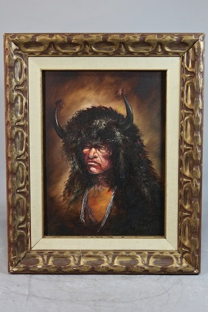 607: Authentic Oil Painting Buffalo Dancer