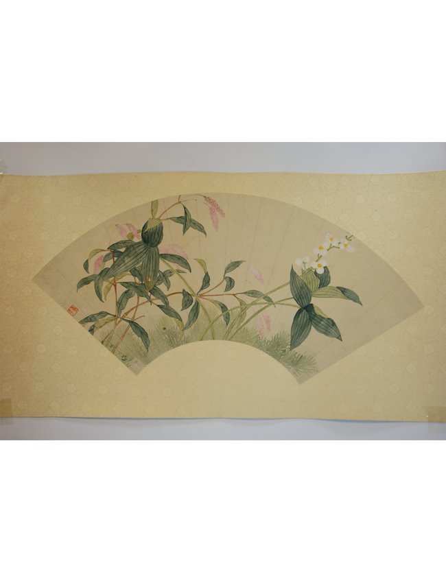 7: Chinese Fan-Shaped Scroll Painting