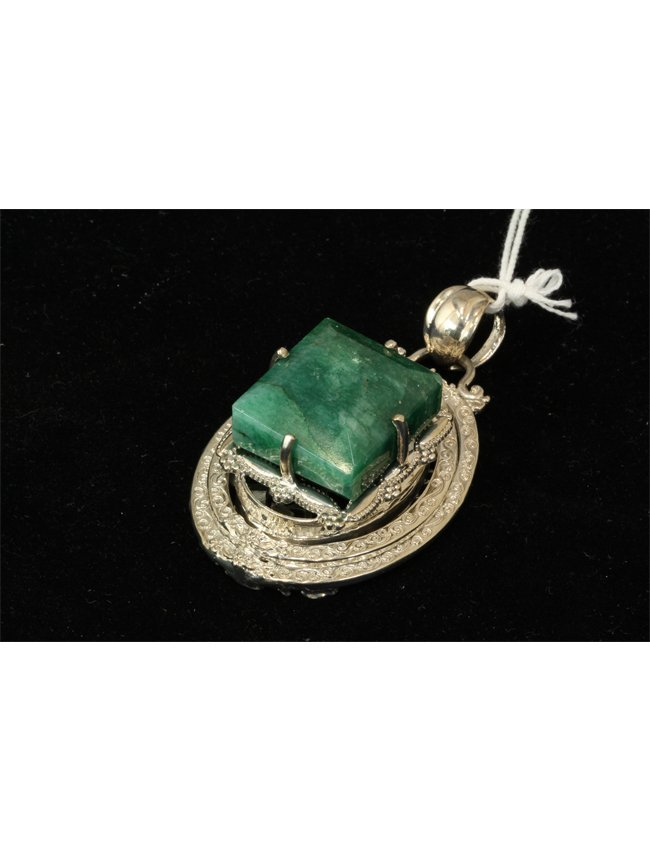 16: 108.35 ct Emerald and Sterling Silver Pendant