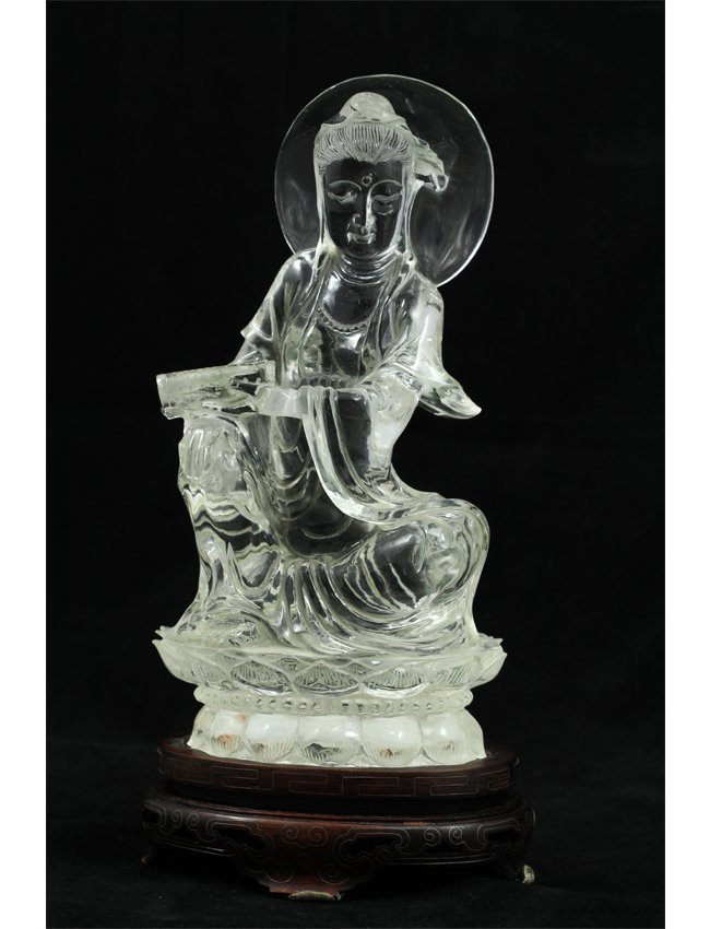 18: Translucent Carved White Crystal Buddha Statue