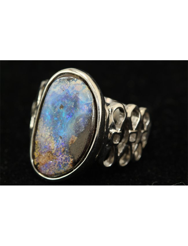 21A: 10.38 ct Boulder Opal and Sterling Silver Ring