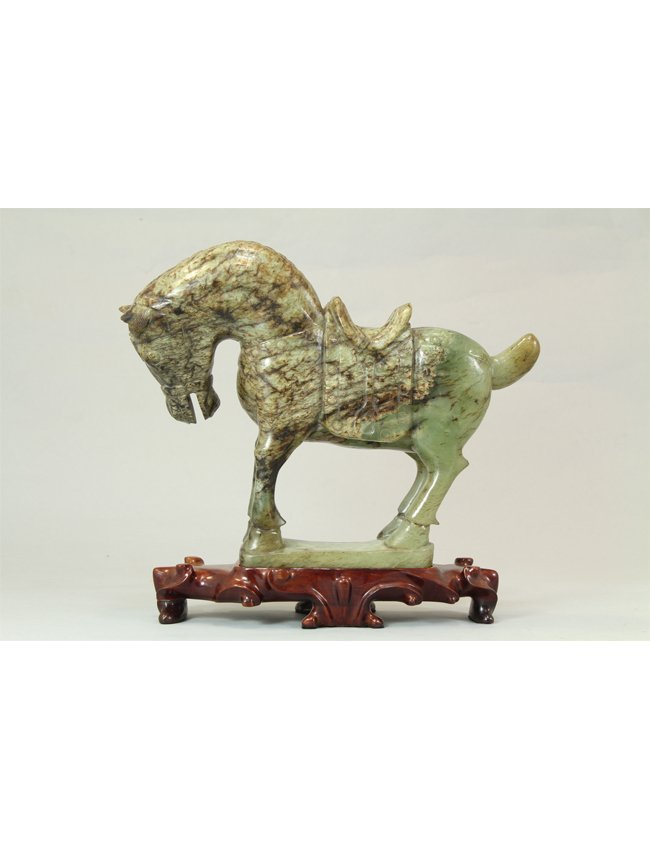 22: Beautifully Carved Jade Horse on Wooden Stand