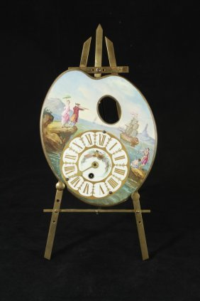 Antique Artist Pallet Shape Clock & Brass Easel