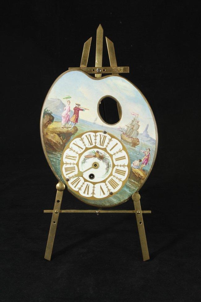 303: Antique Artist Pallet Shape clock & Brass Easel