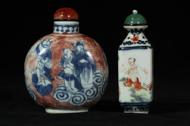 304: Two Hand-painted Snuff Bottles