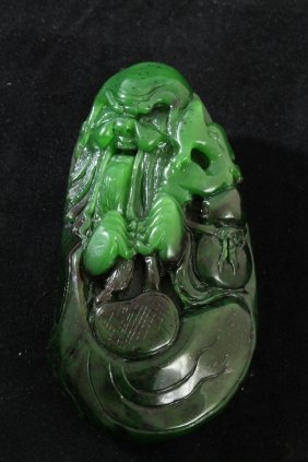 Unusual Nephrite Green Jade Old Man