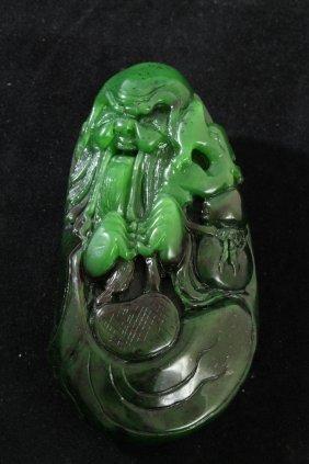 309: Unusual Nephrite Green Jade Old Man