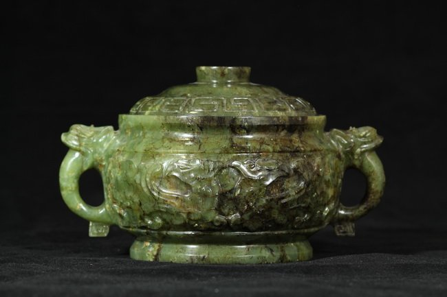 310: Spinach Jade Carved Cistern with Lid