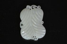 313: Carved White Jade of Leaf Gourd shaped Pendant