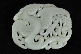 318: Chinese nephrite white jade mythical dragon