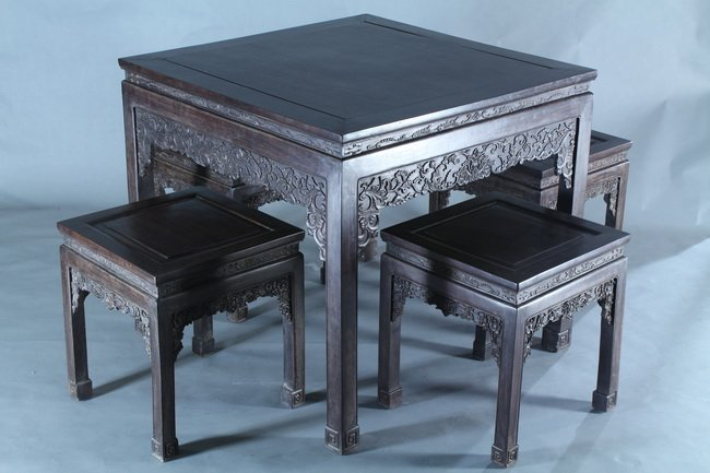 Chinese hardwood tea table with four stools 450 chinese hardwood tea table with four stools geotapseo Image collections