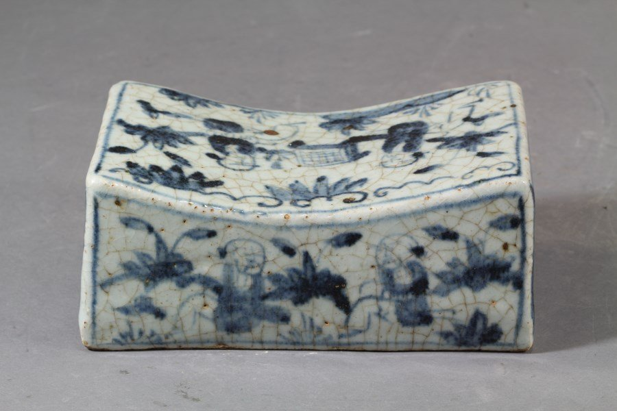 Chinese Blue & White Crackle Glazed Porcelain Pillow