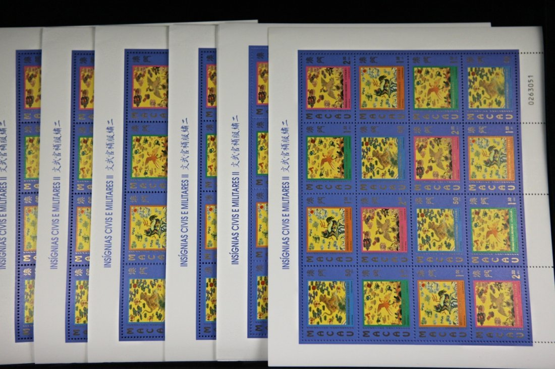 One Stack (50 sheets) of Unused Macau Stamps (Insignias