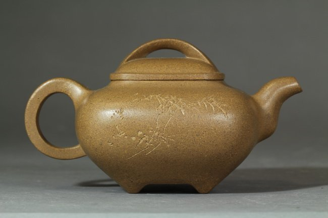 An Antique Chinese Clay Yixing Teapot of bamboo  - 2