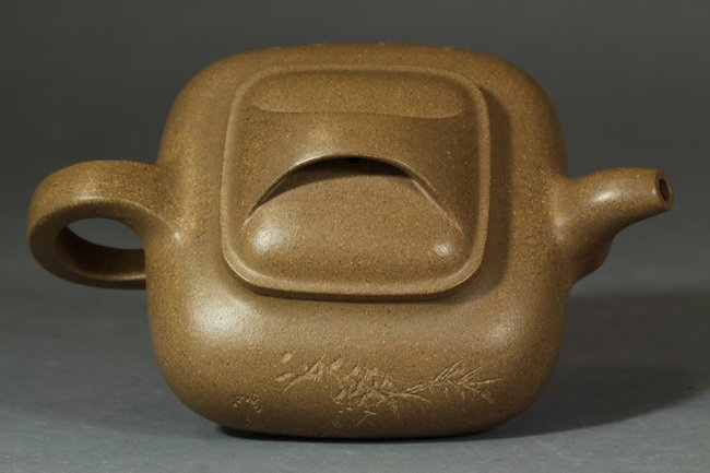 An Antique Chinese Clay Yixing Teapot of bamboo  - 3