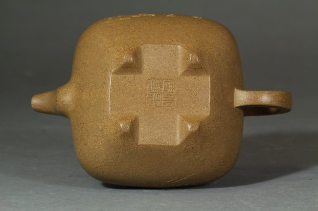 An Antique Chinese Clay Yixing Teapot of bamboo  - 4